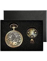 Reloj de bolsillo de Yisuya, con cadena colgante para hombre, diseño de estilo retro de Doctor Who, color bronce antiguo, en caja de regalo