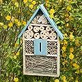 2 tlg. Insektenhotel Set, Schmetterlingshaus aus Holz, Schmetterlingshotel zum Aufhängen, Nisthilfe, Insektenhaus, blau von relaxdays auf Du und dein Garten