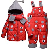 Tute da Neve Bambino Inverno 3 Pezzi Tutone Cappuccio Piumino + Pantaloni e Salopette da Neve + Sciarpa Bambini Tuta da Sci V