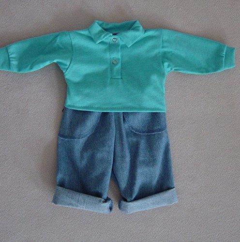 Preisvergleich Produktbild Poloshirt mit Jeanshose für Puppen von 50 - 55 cm