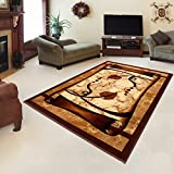 "Rug ROYAL Brown Modern Design Best Price High Quality Living Room S - XXL Mosaic Leaves Pattern 110 x 265 cm (3ft8"" x 8ft9"")"