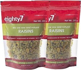 Eighty7 Raisins Kishmish Pack of 2(250 GMS Each), 500g