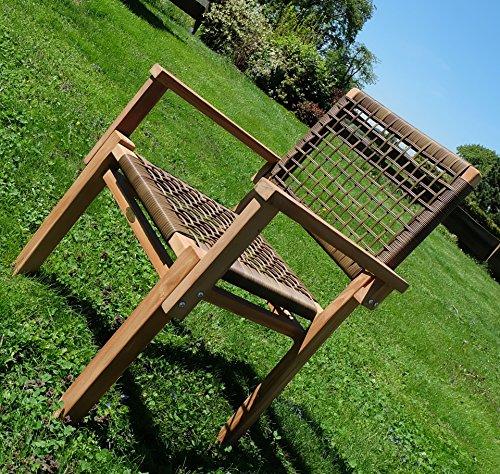 AS-S TEAK Design Rattan Sessel Gartensessel Gartenstuhl Sessel Holzsessel Gartenmöbel Holz geölt sehr robust Modell: RIO+A von AS-S