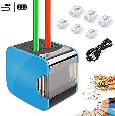WILWOLF Elektrischer Anspitzer, Automatischer Bleistiftanspitzer mit Zwei Löchern, Pencil Sharpener Batterie und USB Zwei Mode mit 6 Klingen, Anti-Rutsch Auto Stop für Sicherheit, Blau