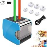 Temperamatite elettrico, temperamatite automatico Oladwolf con due fori, temperamatite batteria e USB Due supporti moda…