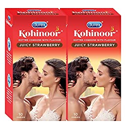 Durex Kohinoor Condoms - 10 Count (Pack of 2, Juicy Strawberry)