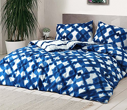 Krawatte blau eingefärbt Bettwäscheset, Bettbezug, Premium Qualität REVERSIABLE Set mit Kissen Fall durch MAS International Ltd, Polycotton, blau, Doppelbett (Karo-paisley-krawatte)
