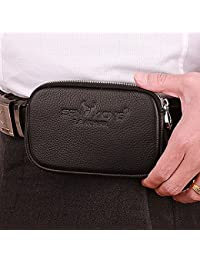 Buyworld 2018 New Men Genuine Cowhide Vintage Travel Cell Mobile Phone Hook Belt Pouch Purse Fanny Pack Waist...