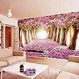 YShasaG Seidenwandbild Benutzerdefinierte Fototapete 3D Romantische Kirschblüten große Wandbild Pink Floral Wallpaper für Mädchen Schlafzimmer Wände 3D, 368cmx254cm