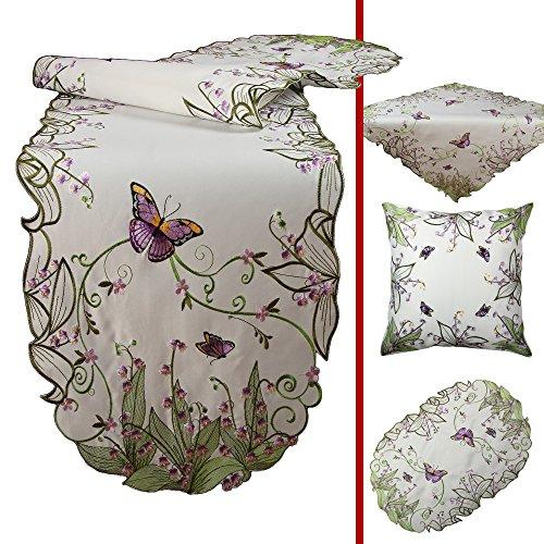 Quinnyshop Zauberhafte Schmetterlinge und lila Blumen Stickerei Tischläufer 40 x 160 cm Oval Satin-Optik, Weiß