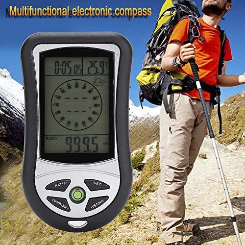Nitrip Digitaler Höhenmesser, langlebiges Hygrometer, Wettervorhersage, Uhr, Kalender, Kompass, Wettervorhersage für Outdoor-Wandern -