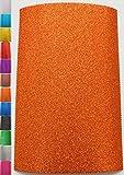 StoffBook 2MM MOOSGUMMI-PLATTE GLITZER BASTELSTOFF 20X29,5CM STOFF STOFFE, D309 (orange)