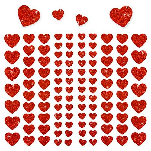 Oblique-Unique® - 106 Herz Aufkleber mit Glitzer Effekt in Rot I Herzen Sticker I Scrapbooking Dekoration Liebe Kinder Geburtstag