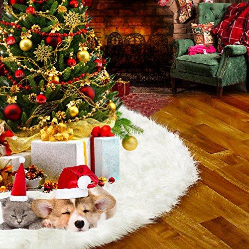 HusDow Christmas Tree Skirt Faux Fur Tree Skirts White for Christmas Decorations Home House Decor(30inch/75cm)