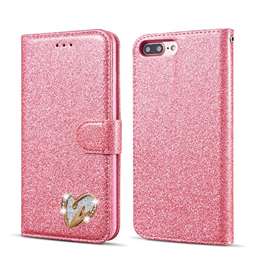 QLTYPRI Glitter Flip Case for iPhone 5 5S SE, Premium PU Leather TPU Cover with Cute Inlaid Loving Heart Diamond Design [Wrist Strap] [Magnetic Closure] [Card Slot] Stand Function Shockproof Bling Smooth Slim Wallet Case for iPhone 5/5S/SE - Pink