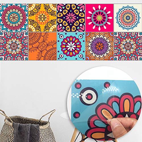 DMZH 100 STÜCKE Abstract Pattern Style Fliesen Aufkleber Dekorative Aufkleber Reise Aufkleber Kreative Rutschfeste Selbstklebende Wandtattoos Floor Sticker,B15cm*15Cm -