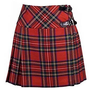 New Ladies Royal Stewart Tartan Scottish Mini Billie Kilt Mod Skirt Size 6UK