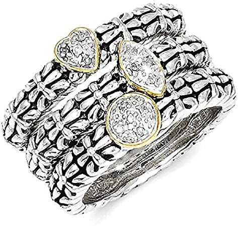 IceCarats 925 Sterling Silver 14k Diamond 3 Stackable Band Rings Size 8.00 Ring
