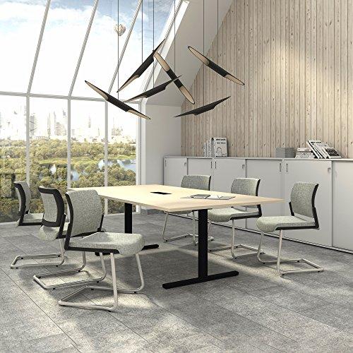 Weber Büro EASY Konferenztisch 240x120 cm Ahorn mit ELEKTRIFIZIERUNG Besprechungstisch Tisch,...
