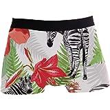 Boxer Slip per Uomo Traspirante Tropical Zebra Animal Underwear Intimo Stretch Soft Quick Drying Action Sport-Inspired Microf