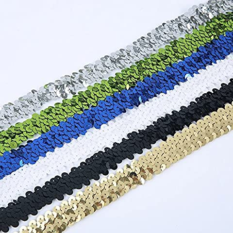 """Elastic Stretch Metallic Sequin Trimming Braid , 2 Row, 3/4"""" for Crafts, Costume Dress, Dance, Wedding & Bridal. Stunning Colour Selection for Sewing & Decoration. Neotrims Wholesale or Retail, Silver - 4 Yards"""