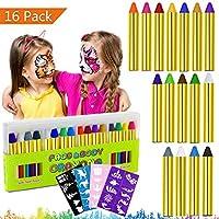 Emooqi Pintura Facial, 16 Colores Face Paint Crayons Pintura Corporal Maquillajes Disfraces Seguros y No Tóxicos con 40 Plantillas, Carnaval, Navidad, Cosplay,Fiestas