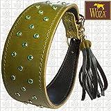 Woza Premium Whippet Halsband 4,4/37CM GRÜN Diamonds Swarovski Steine Vollleder Olive GRÜN Rindleder Nappa SCHWARZ WINDHUND Handmade Greyhound Collar