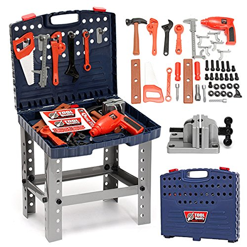 HITSAN 69Pcs Play House Engineer Tools Set Kids Repair Tools Box Pretend Play Toys