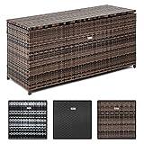 ESTEXO Rattan Auflagenbox Box Polyrattan Gartenbox Kissenbox Gartentruhe Kiste Auflagen (Grau-Mix)