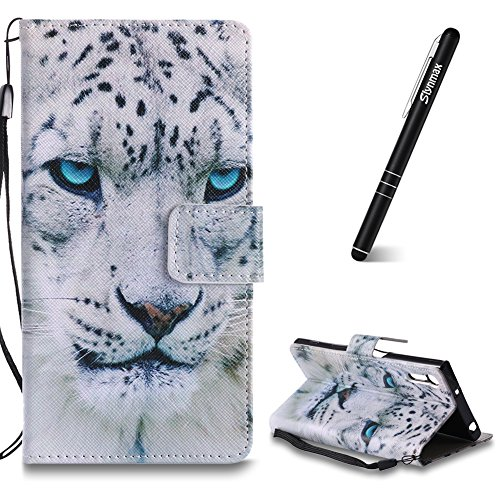 Xperia XZ/Sony Xperia XZs Hülle Tier,Slynmax Wallet Handyhülle Flip Tasche Schutzhülle für Sony Xperia XZ/Sony Xperia XZs Handytasche Leopard Klapphülle Cover Case Brieftasche Lederhülle
