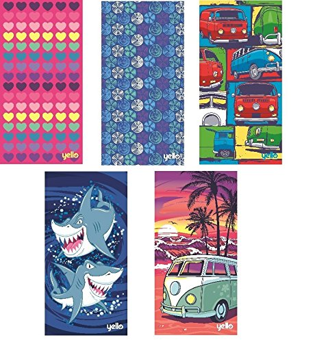 Yello Beach Towels, swimming towel, large 75 x 150cm Towel, fun designs