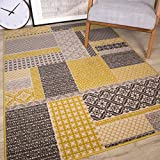 The Rug House Tapis de Salon Traditionnel Milan Motif Patchwork Ocre Gris Beige et Jaune Moutarde 160cm x 230cm