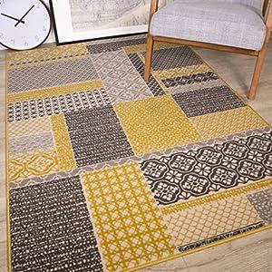 alfombras: The Rug House Milan Color Ocre Amarillo Mostaza Gris Beige en Cuadros de Patchwo...