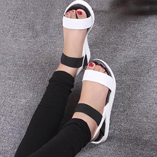 Saingace Damen Sommer Sandalen Schuhe Peep-Toe Low Schuhe Römische Sandalen Damen Flip Flops Weiß
