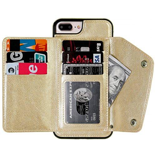 Doppel-brieftasche (iPhone Wallet Schutzhülle mit Kartenhalter mit Ständer, OT Onetop Premium PU Leder Brieftasche Kartenfächer, Doppel Verschluss und Langlebig, stoßfest, for iPhone 7/8 Plus, Gold)