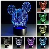 3D Illusion Lampe, USB Nachlichter 7 Farbwechsel 3D Effekt Mouse LED Nachlampe schreibtischlampe Kreativ Leuchten Tischleuchte Dekoratives Licht für Kinder Jungen Mädchen Geschenk für Sohn Tochter