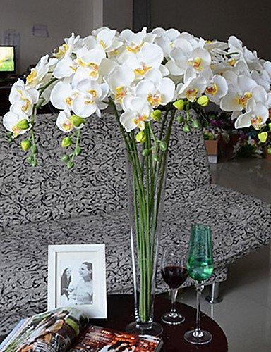 'Fleurs artificielles, 40 Long Tissu papillon ochird ensemble de 10 couleur Blanc