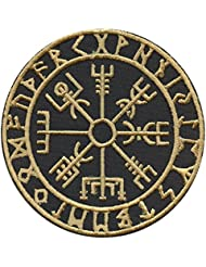 Golden Vegvisir Viking Compass Norse Rune Morale Tactical Touch Fastener Écusson Patch