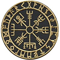 Golden Vegvisir Viking Compass Norse Rune Morale Tactical Sew Iron on Patch