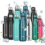 Amazon Brand - Umi Botella Agua Acero Inoxidable, Termo 500ml, Sin BPA, Islamiento de Vacío de Doble Pared, Botellas Frío/Cal