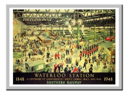 Waterloo Station Peace Rail Reise 1947Silver gerahmt–41x 31cms (ca. 40,6x 30,5cm) (Rail Gerahmt)
