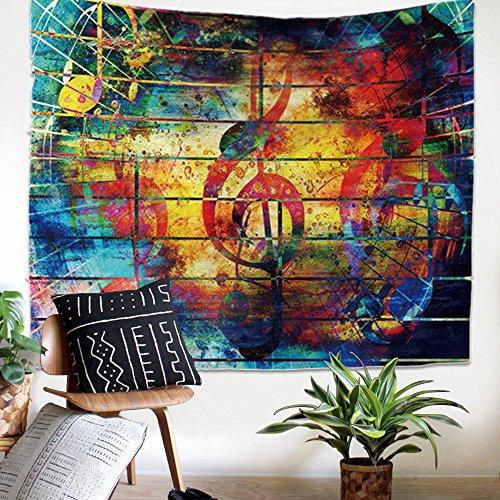 ZHH Arazzo decorativo con motivo musicale da appendere al muro, colorato psichedelico hippie Mandala indiano artistico per camera da letto, soggiorno, da usare anche come copridivano, 150 x 130 cm