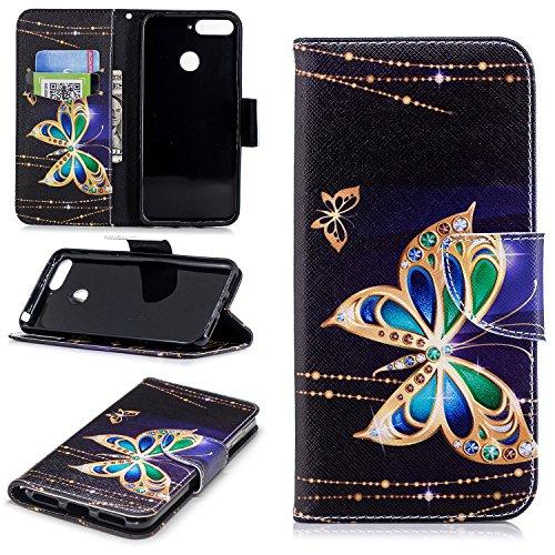 sinogoods Für Huawei Y6 2018 / Huawei Honor 7A Hülle, Premium PU Leder Schutztasche Klappetui Brieftasche Handyhülle, Standfunktion Flip Wallet Case Cover - Großer Schmetterling
