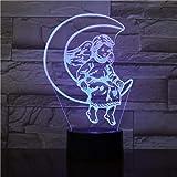 مصباح ليلي بتأثير خداع بصري ثلاثي الابعاد من زد واي كيو زد واي كيو على شكل قمر، مكافأة جميلة للبنات للديكور الداخلي، مستشعر ا