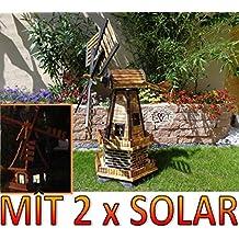 XXL windmühle, Gartenwindmühle 100 cm, zweistöckig 2 Balkone aus Holz, garten windmühlen, MIT SOLAR - AUTOMATIK / Solarleuchten + Solarmodul, Solarbeleuchtung DOPPEL-SOLAR LICHT WMH100ng-MS 1m groß in schwarz / dunkel feuer-geflammt (echt geflammt / gebrannt), NATUR-GEFLAMMT