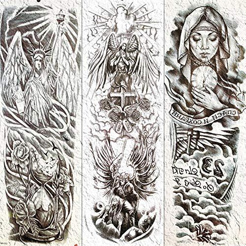 Mrkal tatuaggio lungo braccio gamba tatuaggio temporaneo impermeabile tatuaggio croce angelo tatuaggi per uomini donne suora body art tatuaggio pasta di carta 17x48 cm