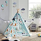 Asweets Kids Tent Canvas Teepee Foldable Play Tent for Children 5 Walls Indoor with Carry Case Little Bear