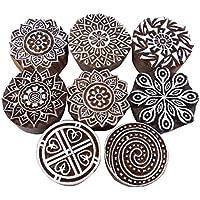 Menge 8 Stück Indische Holztextilmarken Hand Geschnitzt Druckblock Braun Stempel