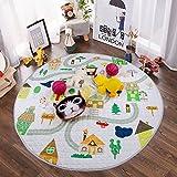 Winthome Baby-Spieldecke Rund, antirutschbeschichtete Baumwoll-Spieldecke mit Spielzeugaufbewahrungsfunktion - waschbare Krabbeldecke Durchmesser 150cm (house)