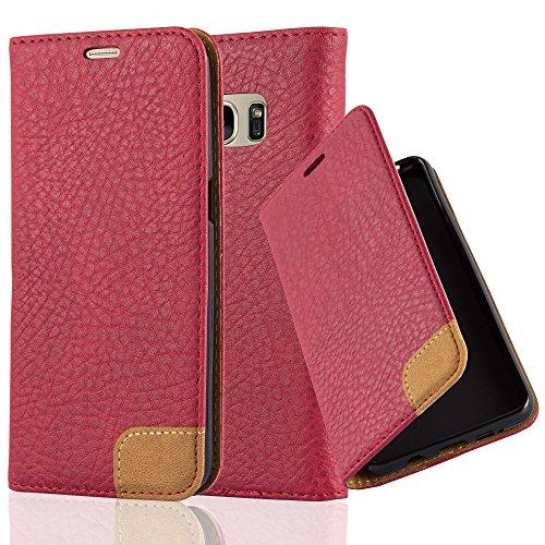 Preisvergleich Produktbild Cadorabo Hülle für Samsung Galaxy S7 - Hülle in Abend ROT – Handyhülle mit Standfunktion,  Kartenfach und Textil-Patch - Case Cover Schutzhülle Etui Tasche Book Klapp Style